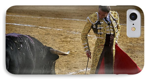 Bullfighter Manuel Ponce Performing During A Corrida In The Bullring IPhone Case by Perry Van Munster