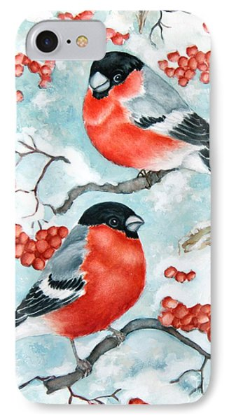 Bullfinch Couple IPhone Case by Inese Poga