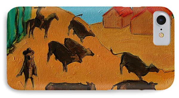 IPhone Case featuring the painting Bulls On The Run With Two Riders 2 by Thomas Bertram POOLE