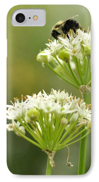 IPhone Case featuring the photograph Bumblebee On Garlic Chives by Rebecca Sherman