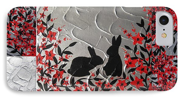 Bunnies In Blossom IPhone Case by Cathy Jacobs