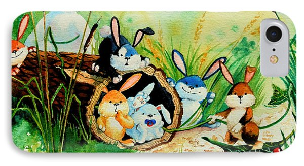 Bunnies Log And Frog IPhone Case by Hanne Lore Koehler