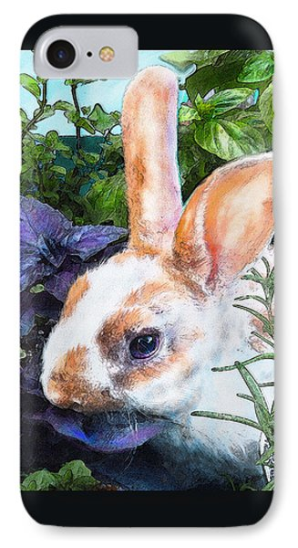 IPhone Case featuring the digital art Bunny In The Herb Garden by Jane Schnetlage
