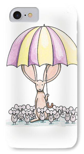 Bunny With Umbrella Phone Case by Christy Beckwith