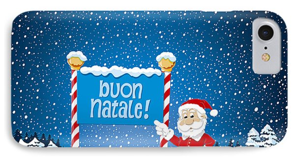 Buon Natale Sign Santa Claus Winter Landscape IPhone Case