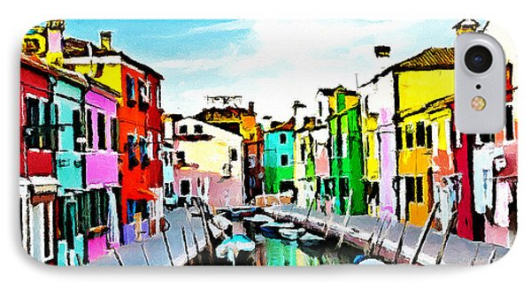 IPhone Case featuring the painting Burano - Venice - Italy by Ze  Di