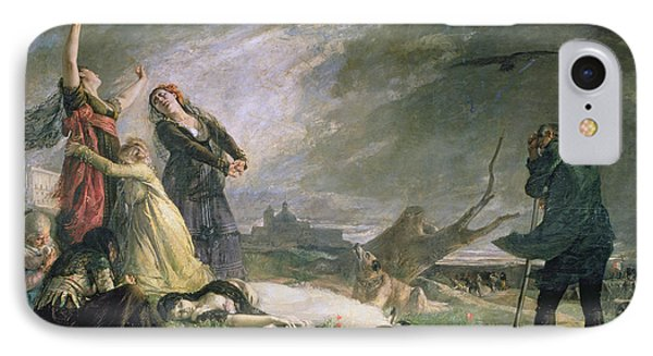 Burial At La Moncloa In May 1808 Oil On Canvas IPhone Case by Vincente Gonzalez Palmaroli