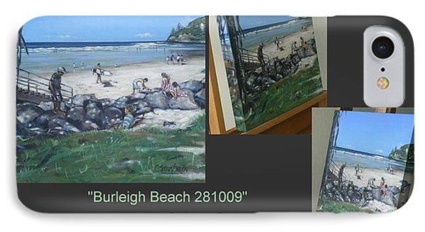 IPhone Case featuring the painting Burleigh Beach 281009 by Selena Boron