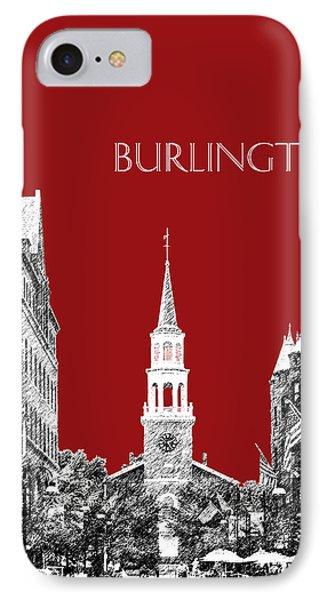 Burlington Vermont Skyline - Dk Red IPhone Case by DB Artist
