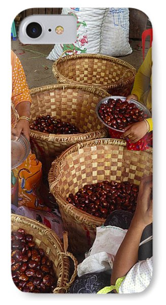 IPhone Case featuring the photograph Burmese Ladies Sorting Water Chestnuts Zay Cho Street Market 29th Street Mandalay Burma by Ralph A  Ledergerber-Photography