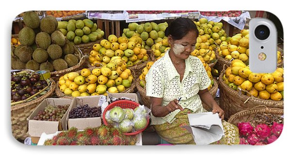 Burmese Lady Selling Colourful Fresh Fruit Zay Cho Street Market 27th Street Mandalay Burma IPhone Case by Ralph A  Ledergerber-Photography