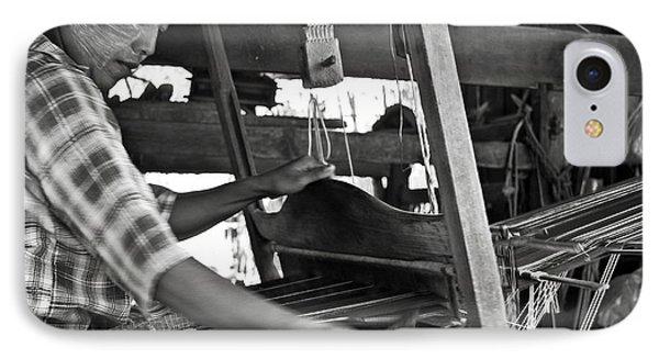 Burmese Woman Working With A Handloom Weaving. Phone Case by RicardMN Photography