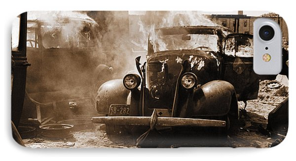 Burning Car Circa 1942  IPhone Case by Aged Pixel