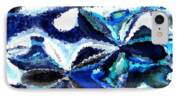Bursts Of Blue And White - Abstract Art Phone Case by Carol Groenen