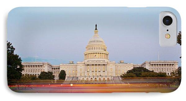 Bus Blur And U.s.capitol Building Phone Case by Richard Nowitz