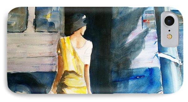 Bus Stop - Woman Boarding The Bus IPhone Case by Carlin Blahnik