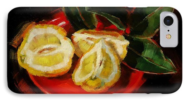 IPhone Case featuring the painting Bush Lemon Sliced by Margaret Stockdale