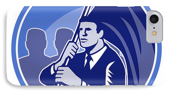 Businessman Flag Bearer Retro Phone Case by Aloysius Patrimonio