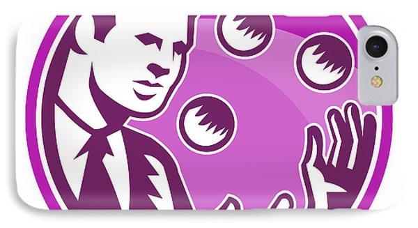 Businessman Juggler Juggling Balls Retro Phone Case by Aloysius Patrimonio