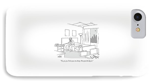 Businessman Sitting On A Bed In Hotel Room IPhone Case by Jack Ziegler