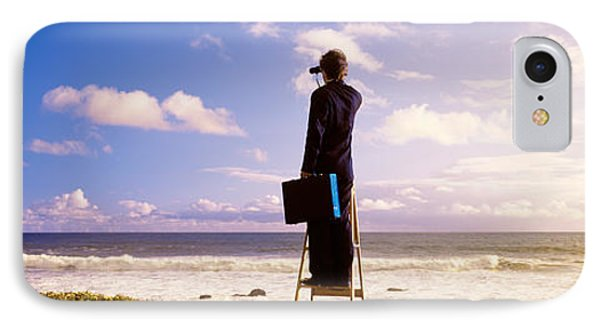 Businessman Standing On A Ladder And IPhone Case