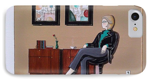 Businesswoman Sitting In Chair IPhone Case by John Lyes