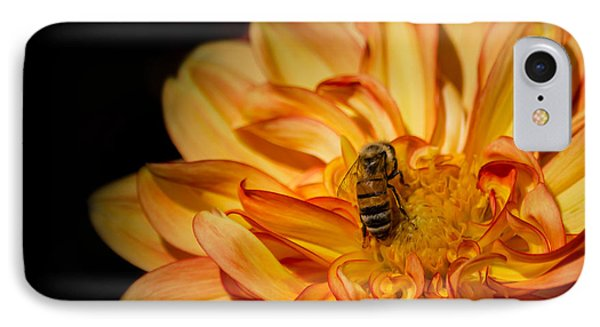Busy Bee Dahlia IPhone Case by Linda Villers