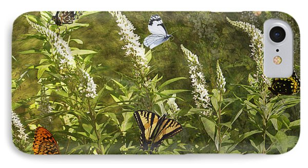 IPhone Case featuring the photograph Butterflies In Golden Garden by Belinda Greb