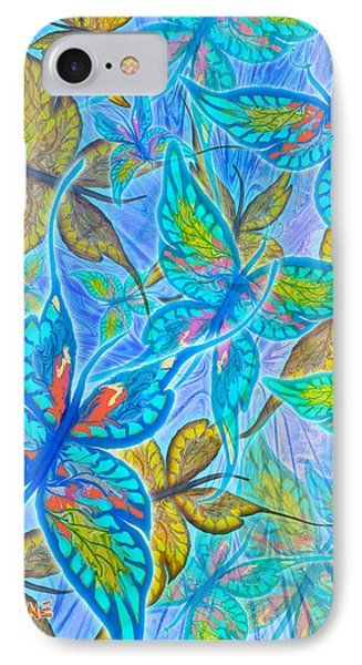 IPhone Case featuring the mixed media Butterflies On Blue by Teresa Ascone