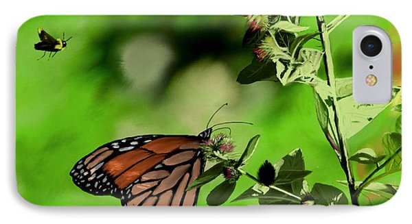 Butterfly And Bee IPhone Case by Ron Grafe