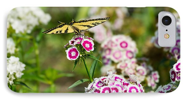Butterfly And Bloom - Beautiful Spring Flowers And Tiger Swallowtail Butterfly. Phone Case by Jamie Pham