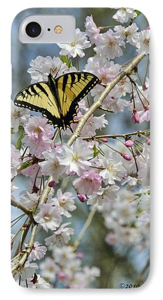 Butterfly And Blooms IPhone Case by Kenny Francis