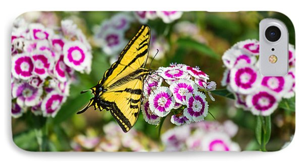 Butterfly And Blooms - Spring Flowers And Tiger Swallowtail Butterfly. Phone Case by Jamie Pham