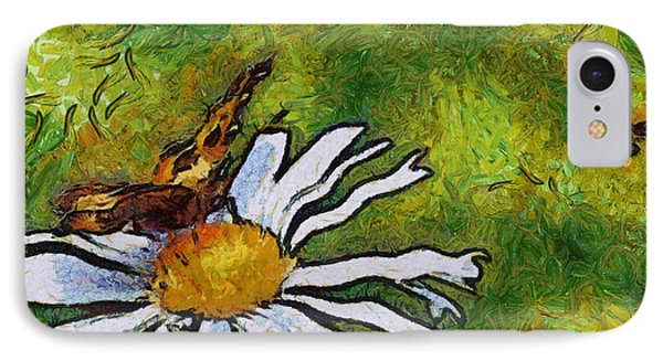 IPhone Case featuring the painting Butterfly And Flower by Georgi Dimitrov