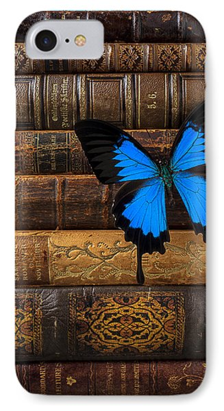 Butterfly And Old Books Phone Case by Garry Gay
