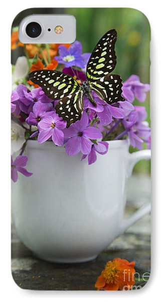 Butterfly And Wildflowers Phone Case by Edward Fielding