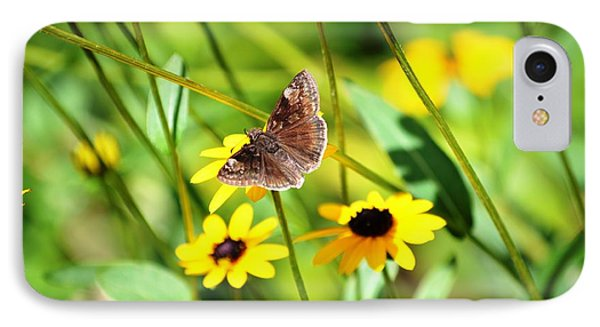 Butterfly And Yellow Flowers Phone Case by Carlee Ojeda