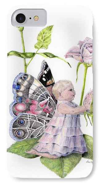 IPhone Case featuring the drawing Butterfly Baby by Laurianna Taylor