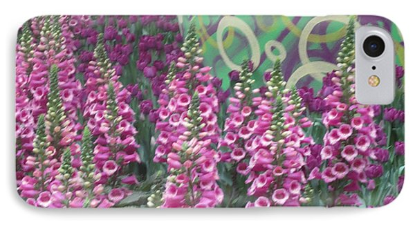 IPhone Case featuring the photograph Butterfly Garden Purple White Flowers Painted Wall by Navin Joshi