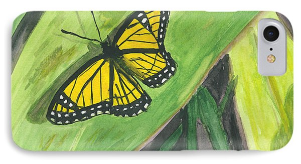 IPhone Case featuring the painting Butterfly In Vermont Corn Field by Donna Walsh