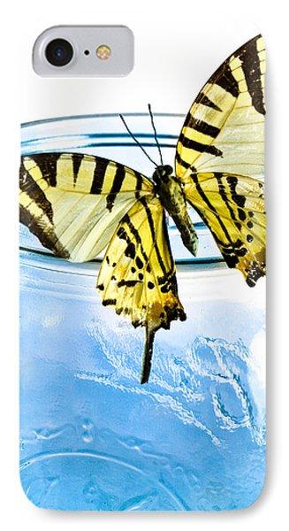 Butterfly On A Blue Jar Phone Case by Bob Orsillo