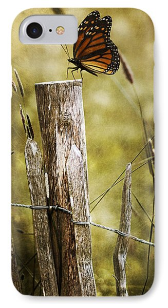 IPhone Case featuring the photograph Butterfly On A Fence by Ethiriel  Photography