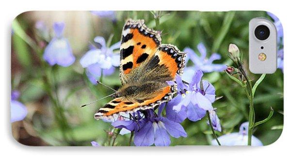 Butterfly On Blue Flower Phone Case by Gordon Auld