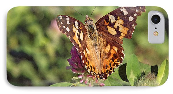 IPhone Case featuring the photograph Butterfly On Clover by Brooke T Ryan