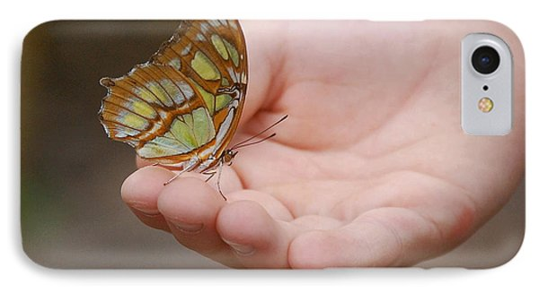IPhone Case featuring the photograph Butterfly On Hand by Leticia Latocki