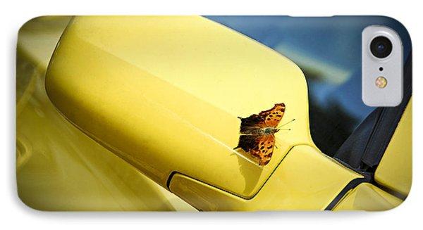 Butterfly On Sports Car Mirror Phone Case by Elena Elisseeva