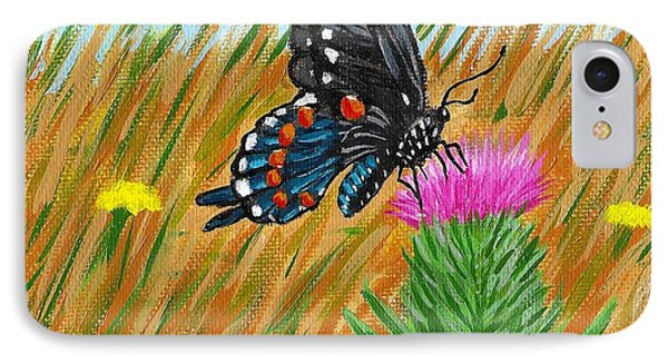 Butterfly On Thistle Phone Case by Vicki Maheu