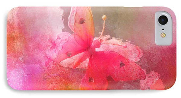 Butterfly Surreal Fantasy Painterly Impressionistic Pink Abstract Butterfly Fine Art  IPhone Case by Kathy Fornal