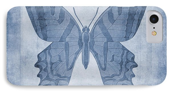 Butterfly Textures Cyanotype IPhone Case by John Edwards