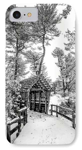 Bw Covered Bridge In The Snow IPhone Case